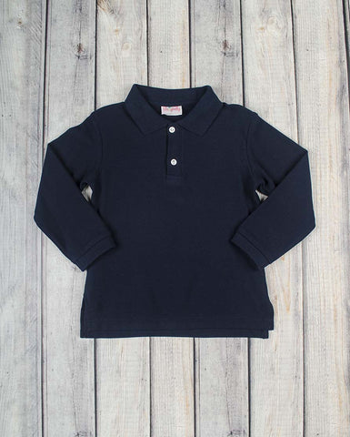 Navy LS Collared Polo Shirt - Boys - Stellybelly - 1