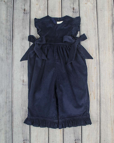 Navy Cord Ruffle Romper - Girls - Stellybelly - 1