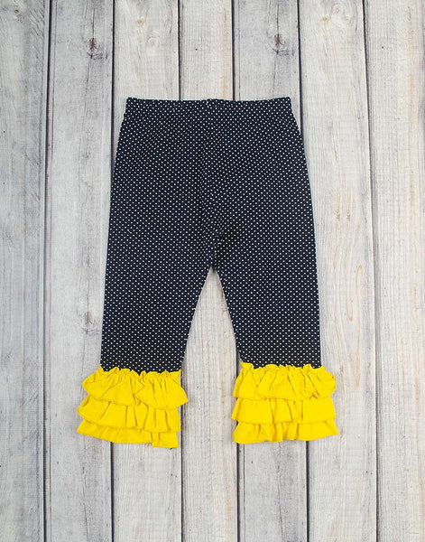 Navy Dot w/Yellow Knit Ruffle Capri - Girls - Stellybelly