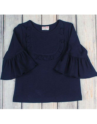 Navy Knit Jordan Ruffle Shirt - Girls - Stellybelly - 1