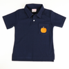 Embroidered Pumpkin Navy Knit Polo