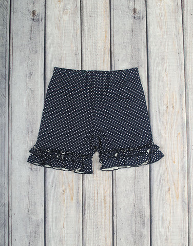 Navy Dot Ruffle Knit Shorts - Girls - Stellybelly - 1