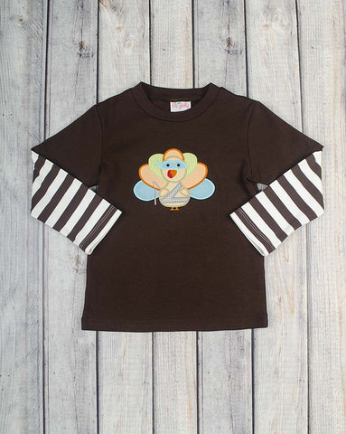 Ninja Turkey Applique LS Shirt - Boys - Stellybelly - 1