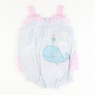 Whale Applique Seersucker Girl Bubble
