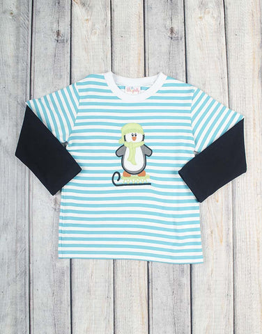 Penguin Sled Applique LS T-Shirt - Boys - Stellybelly - 1