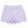 Scalloped Shorts - Pink & Royal Plaid