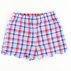 Scalloped Shorts - Red, White, & Blue Plaid