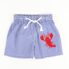 Appliqué Lobster Swim Trunks - Royal Check