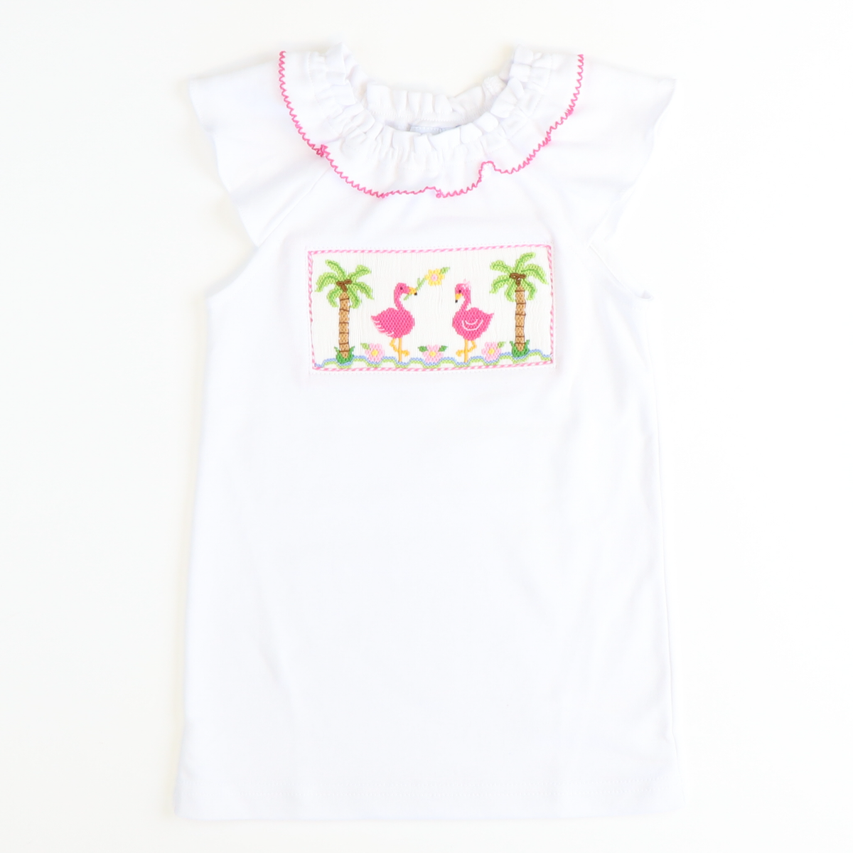 Smocked Flamingos White Knit Top