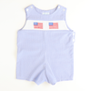 Smocked Flags Shortall - Royal Check Seersucker