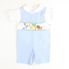 Smocked Zoo Light Blue Pique Shortall & Shirt Set