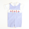 Smocked Nautical Shortall & Shirt Set - Royal Check Seersucker