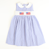 Smocked Flags Collared Dress - Royal Check Seersucker