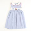 Smocked Lighthouse & Whales Collared Dress - Royal Stripe Seersucker