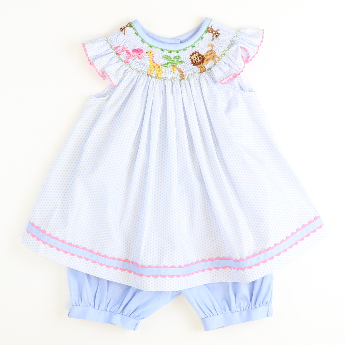 Smocked Zoo Top & Bloomer Set - Light Blue Dot
