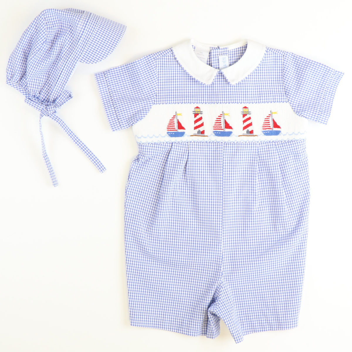 Smocked Nautical Boy Bubble & Cap - Royal Check Seersucker
