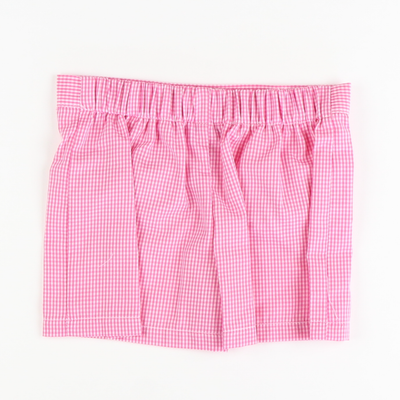 Girl Pocket Shorts - Pink Check