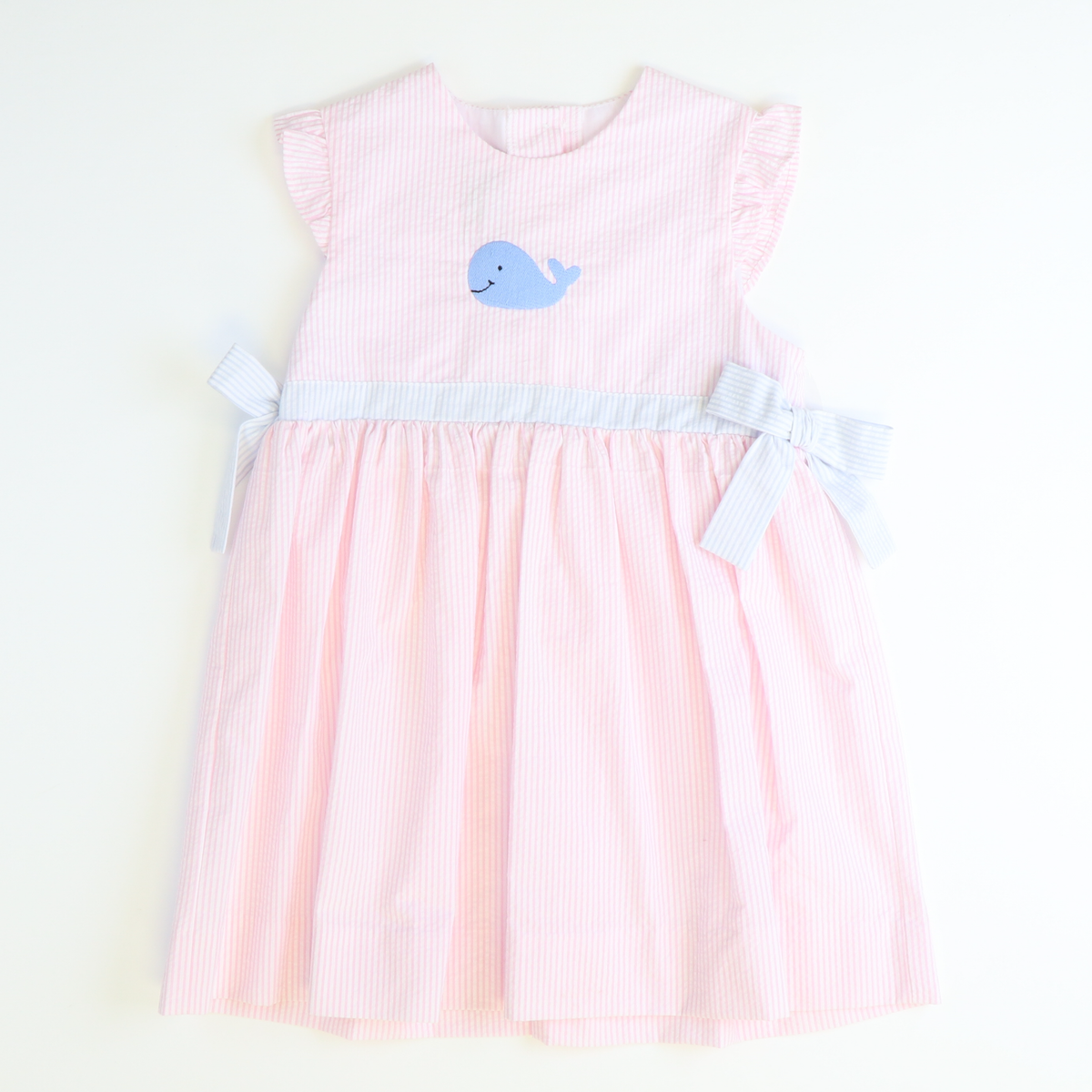 Embroidered Blue Whale Bow Dress - Light Pink Stripe Seersucker