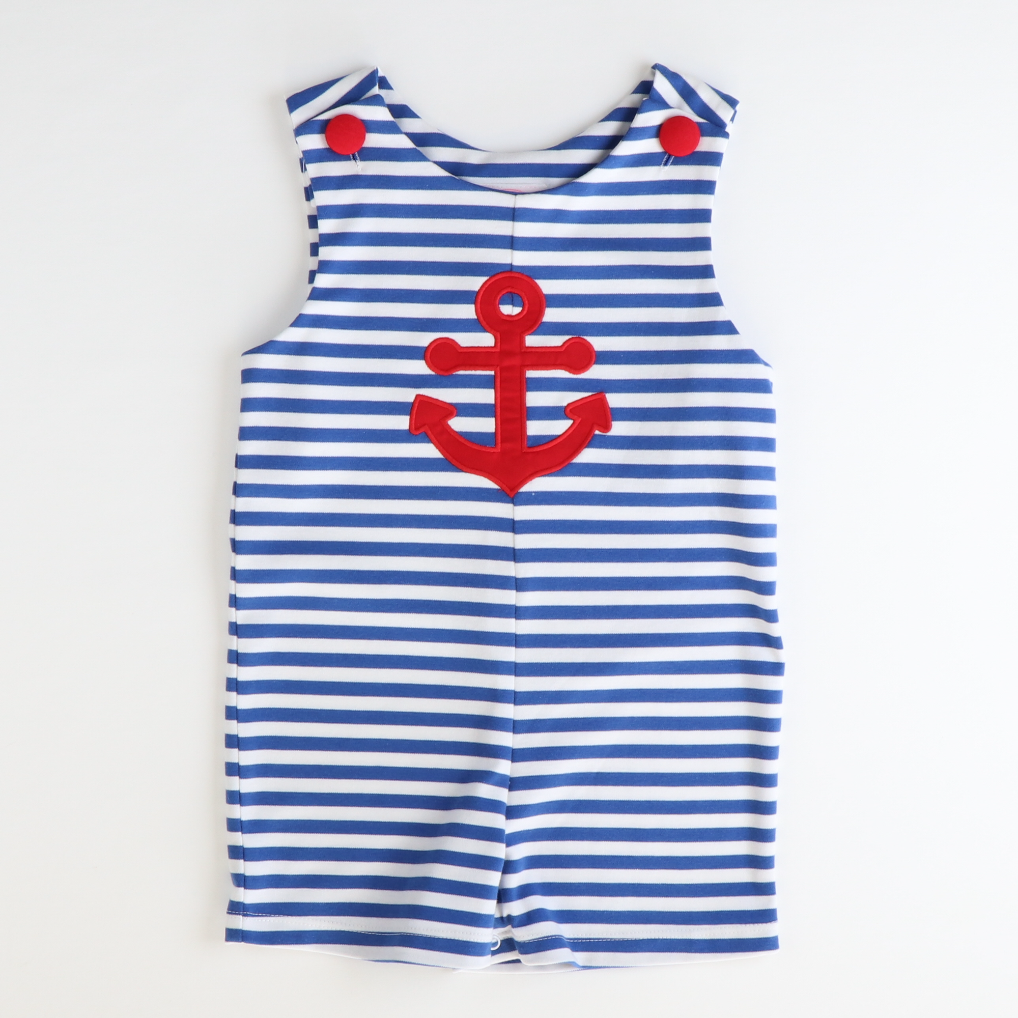 Appliqué Anchor Shortall - Royal Blue Stripe Knit