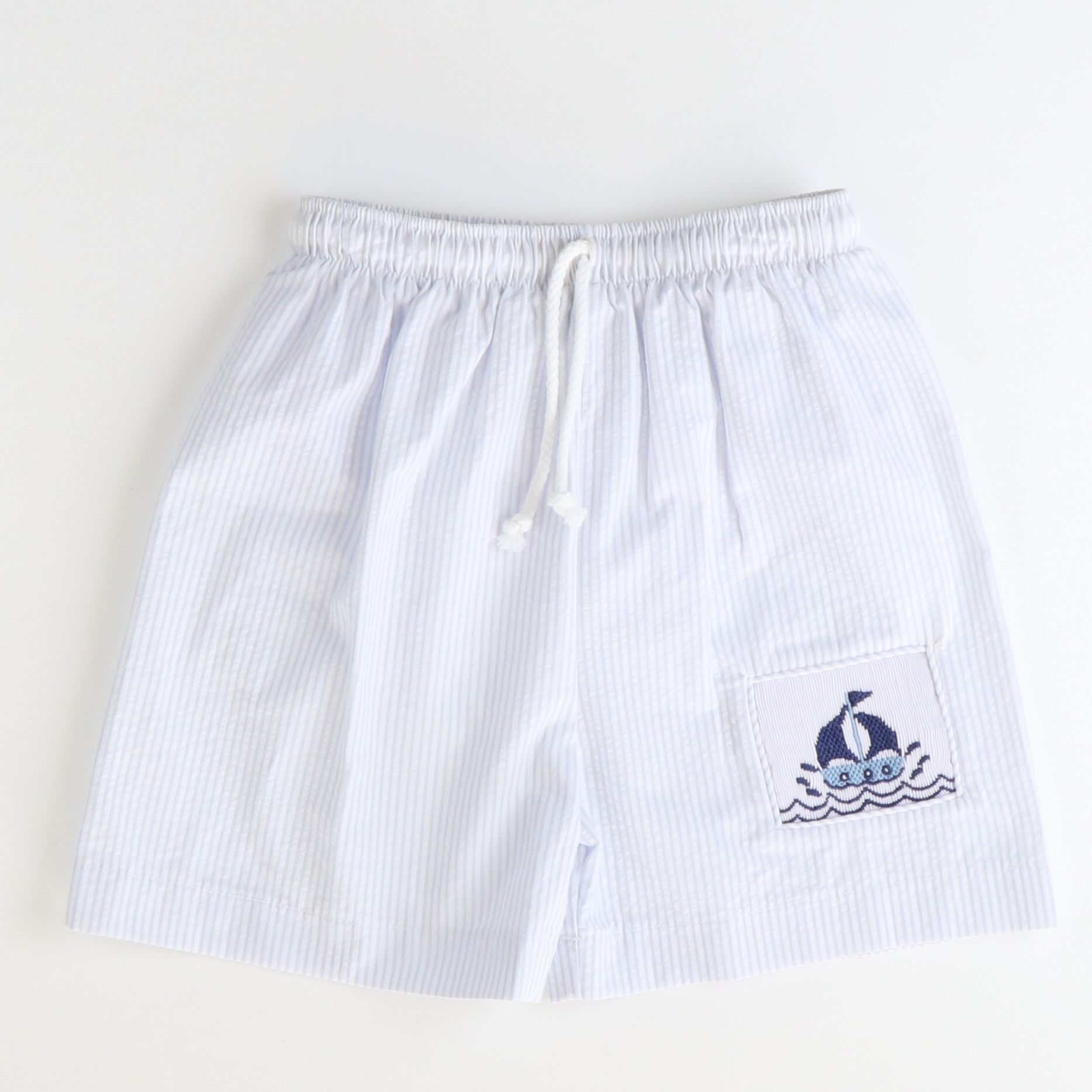 Smocked Sailboats Swim Trunks - Light Blue Stripe Seersucker