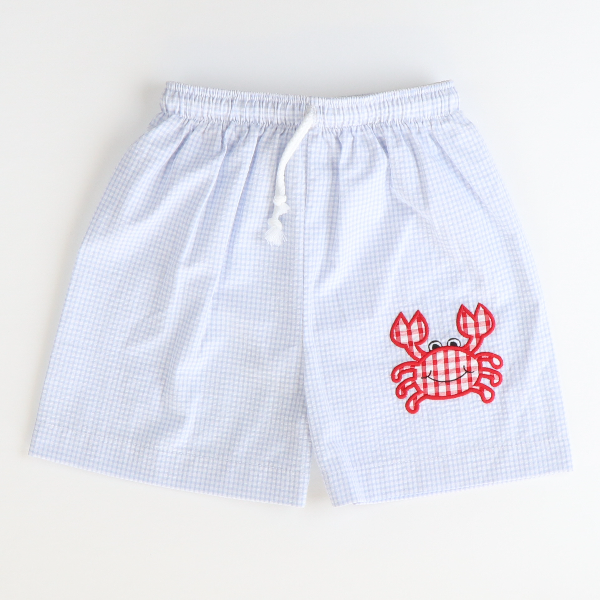 Appliqué Crab Swim Trunks - Light Blue Mini Check Seersucker