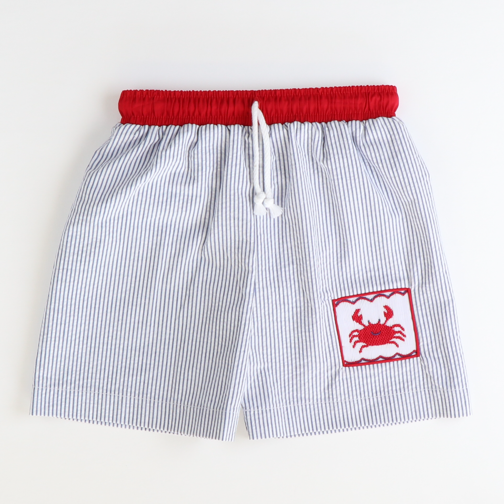 Smocked Crabs Swim Trunks - Royal Blue Stripe Seersucker