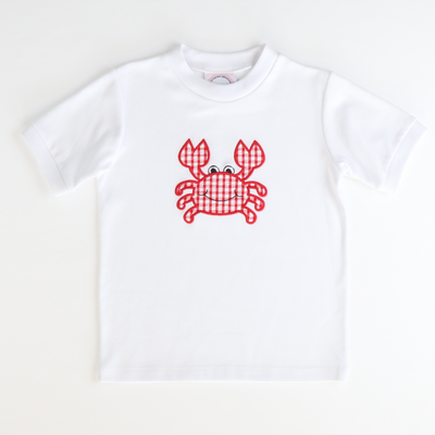 Appliqué Crab Short Sleeve Knit Shirt
