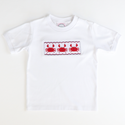 Smocked Crabs Short Sleeve Knit Shirt - Stellybelly
