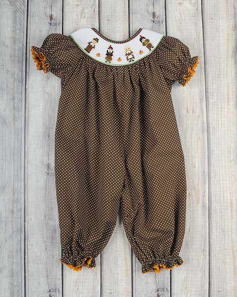 Thanksgiving Smocked Long Bubble - Girls - Stellybelly - 1