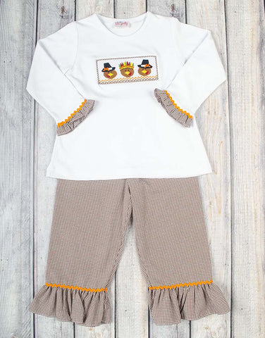 Smocked Brown Pilgrim/Indian Turkey Ruffle Pant Set
