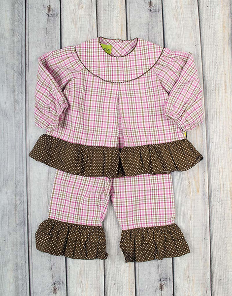 Pink/Brown Plaid LS Ruffle Pant Set - Girls - Stellybelly - 1