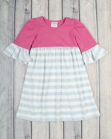 Hot Pink/Lt Blue Stripe Knit Kelly Dress - Girls - Stellybelly - 1