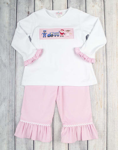 Smocked All Aboard Ruffle Pant Set - Girls - Stellybelly - 1