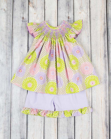 Smocked Prism Peonies Geo Bishop Short Set