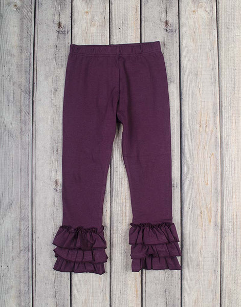 Purple Ruffle Leggings - Girls - Stellybelly - 1