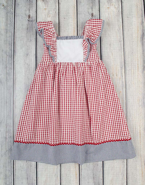 Red/Navy Check Peasant Dress - Girls - Stellybelly - 1