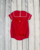 Red Corduroy Sailor Collar Boy Bubble - Boys - Stellybelly - 2