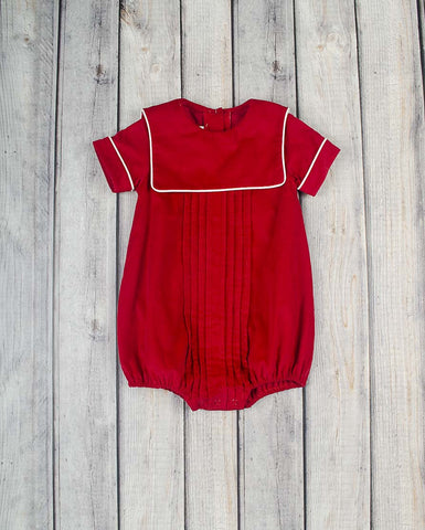 Red Corduroy Sailor Collar Boy Bubble - Boys - Stellybelly - 1