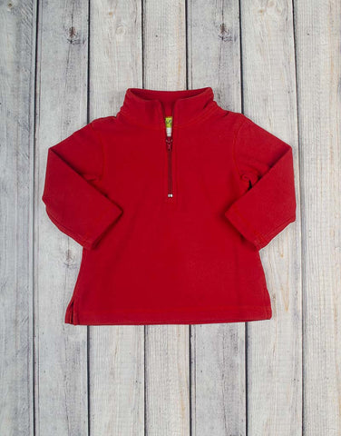 Unisex Bright Red Half-Zip Fleece Pullover - Unisex - Stellybelly - 1