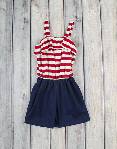 Red Stripe/Navy Emrie Romper - Girls - Stellybelly - 1