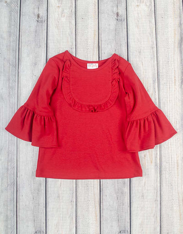 Red Ruffle Jordan Shirt - Girls - Stellybelly - 1