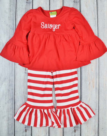 Red/Red & White Stripe Peyton Pant Set - Girls - Stellybelly