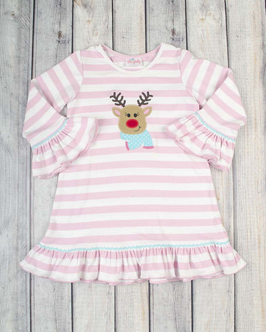 Jolly Reindeer App Knit Dress - Girls - Stellybelly - 1