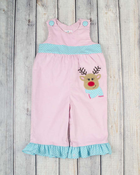 Jolly Reindeer App Ruffle Romper - Girls - Stellybelly - 1