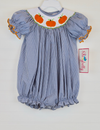 Smocked Pumpkin Navy Gingham Bubble