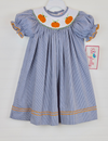 Smocked Pumpkin Navy Gingham Bishop
