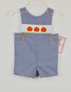 Smocked Pumpkin Royal Blue Gingham Jon Jon