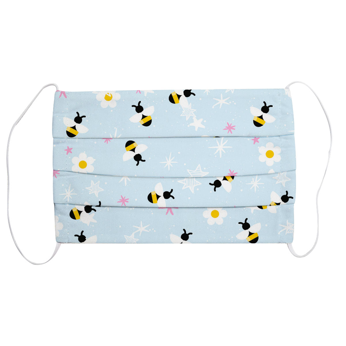 Floral Bees Light Blue Face Mask