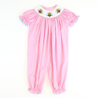 Smocked Turkeys Girl Long Bubble - Pink Micro-Gingham