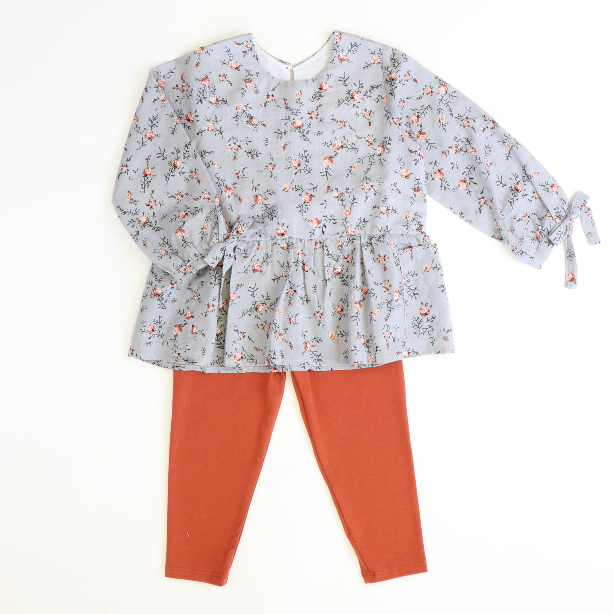 Gray Floral Top & Burnt Orange Leggings Set